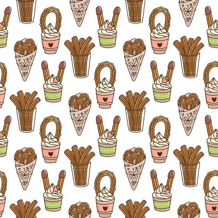 Seamless pattern with Churros (or churro) is a traditional Spanish dessert, on a white background. Excellent design for menu, brochures, poster, packaging, wrapping paper etc.