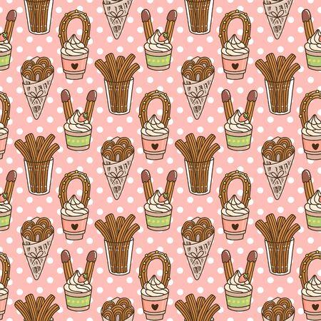 Seamless pattern with Churros (or churro) is a traditional Spanish dessert, on a pink background. Excellent design for menu, brochures, poster, packaging, wrapping paper etc.