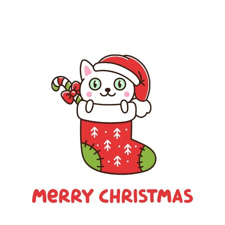 Funny cat as a gift in Christmas sock. It can be used for sticker, patch, phone case, poster, t-shirt, mug and other design. Ilustrace