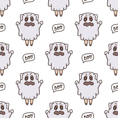 Halloween pattern with pug dog in a ghost costume, on a white background. It can be used for packaging, wrapping paper, textile and etc.