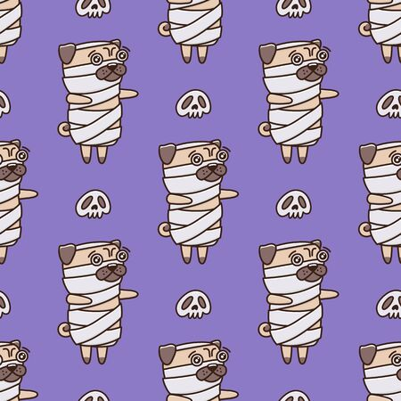 Halloween pattern with dog pug in a mummy costume, on a purple background, with skull. It can be used for packaging, wrapping paper, textile and etc.