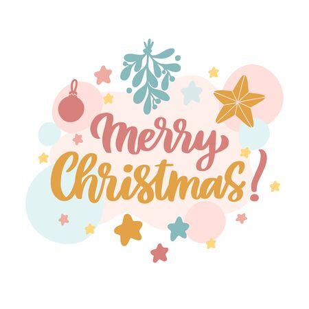 Scandinavian card with mistletoe, stars, christmas decorations and inscription: Merry Christmas! Vector Image.