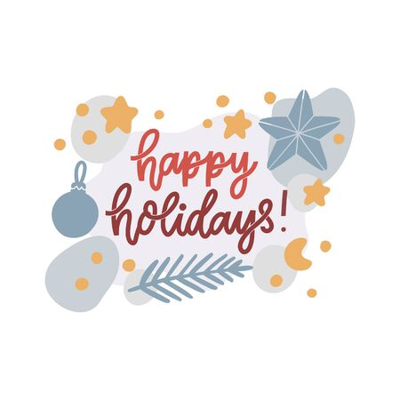 Scandinavian card with stars, fir-tree, Christmas decorations and inscription: Happy holidays! Vector Image.  イラスト・ベクター素材
