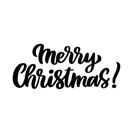 The hand-drawing quote: Merry Christmas, in a trendy calligraphic style. It can be used for card, mug, brochures, poster, t-shirts, phone case etc.  Stock Illustratie