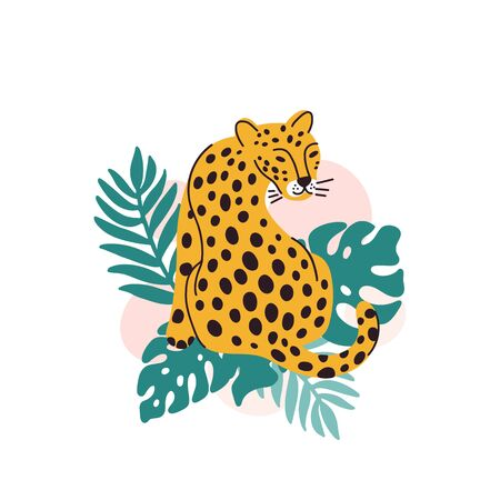 Leopard with palm leaves on a white background. It can be used for sticker, patch, phone case, poster, t-shirt, mug and other design.