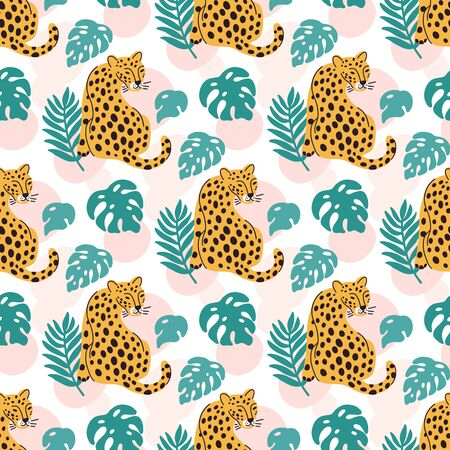Tropical seamess pattern with leopard and palm leaves. Ð¡reative print for apparel, nursery decoration, textile, packaging, wrapping paper etc. Ilustracja