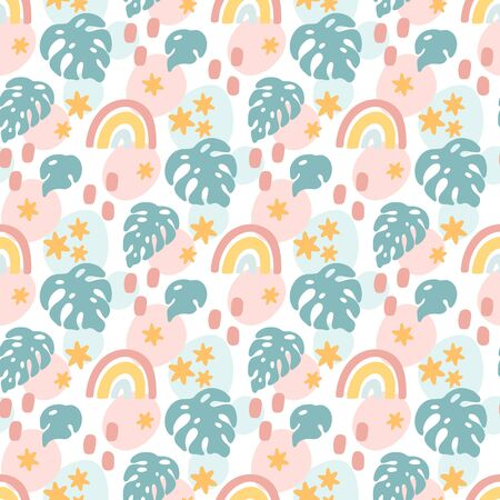 Seamess pattern in Scandinavian style with rainbow, stars and palm leaves. Ð¡reative print for apparel, nursery decoration, textile, packaging, wrapping paper, etc.