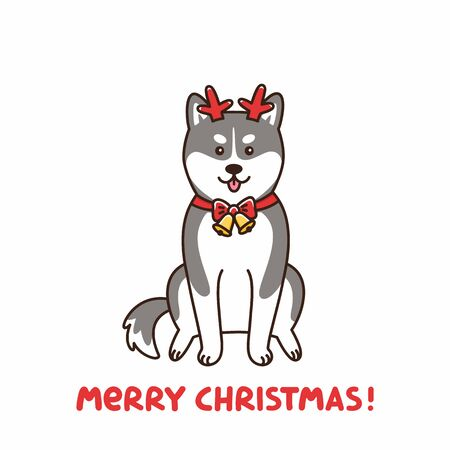 Siberian husky in the costume of a deer, assistant Santa Claus. Merry Christmas card. It can be used for sticker, patch, card, poster, t-shirt, mug and other design.