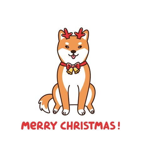 Shiba inu in the costume of a deer, assistant Santa Claus. Merry Christmas card. It can be used for sticker, patch, card, poster, t-shirt, mug and other design.  イラスト・ベクター素材