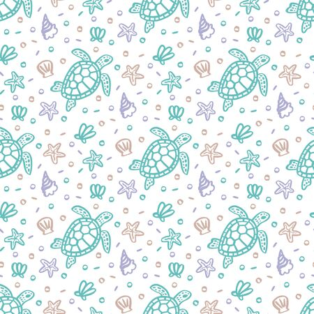 Seamess pattern with turtle, seashells, starfish and pearls on a white background. Ð¡reative print for apparel, textile, packaging, wrapping paper etc. Ilustracja