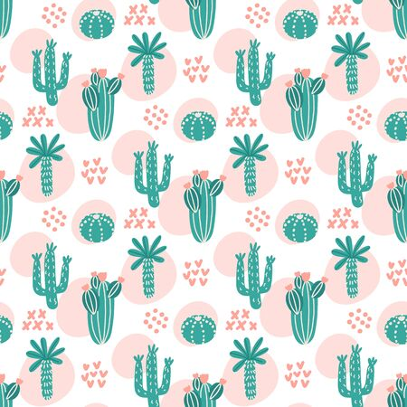 Tropical seamess pattern with different types of cacti. Ð¡reative print for apparel, nursery decoration, textile, packaging, wrapping paper etc. Print in Scandinavian style.