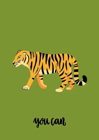 Tiger with motivational phrase: You can. Beautiful animal print design for home decor. Modern vector illustration.