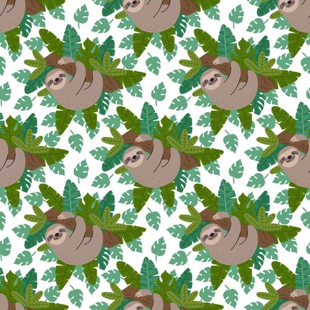 Seamess pattern with sloth and exotic tropical leaves. Ð¡reative print for apparel, nursery decoration, textile, packaging, wrapping paper etc. Illustration
