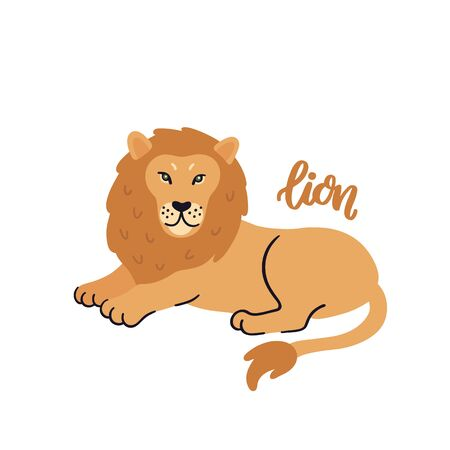 Animal lion isolated on white background. Beautiful animal print for home decor, card, mug, brochures, poster, t-shirts etc. Modern vector illustration. Illusztráció
