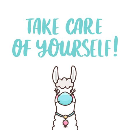 Llama in medical mask and hand-drawing inscription: Take care of yourself! It can be used for card, brochures, poster etc. Ilustração