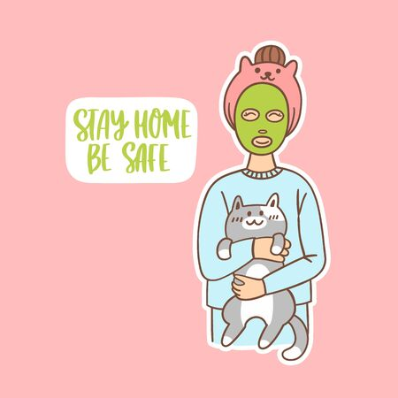 Young woman with green face mask for skincare and with cute cat.
