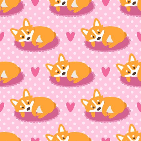 Seamless pattern with dog welsh corgi on a polka dot pink background with hearts. It can be used for packaging, wrapping paper, textile and etc. Illustration
