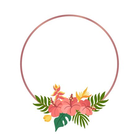 Tropical circle frame with palm leaves, hibiscus and strelitzia flowers. Beautiful floral print for wedding invitations, greeting cards, home decor. Modern vector illustration.