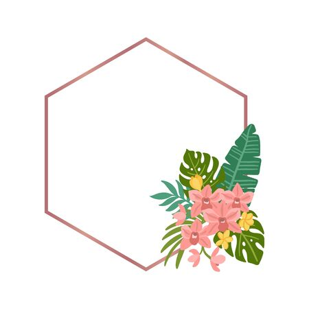 Tropical rhombus frame with palm leaves, monstera leaves, orchid and plumeria flowers. Beautiful floral print for wedding invitations, greeting cards, home decor. Modern vector illustration.