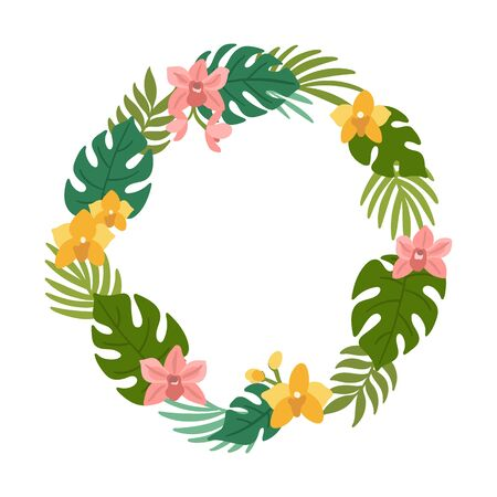 Tropical wreath of palm leaves, monstera leaves and orchid flowers. Beautiful floral print for wedding invitations, greeting cards, home decor. Modern vector illustration. Illustration