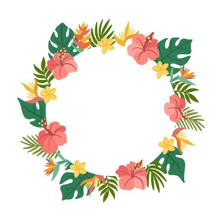 Tropical circle frame with palm leaves, hibiscus, strelitzia, plumeria flowers. Beautiful floral print for wedding invitations, greeting cards, home decor. Modern vector illustration.