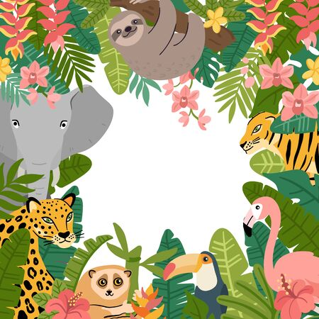 Tropical frame with animals and plants. Sloth, elephant, leopard, tiger, toucan, flamingo and lemur lory. Beautiful Jungle background for invitations, greeting cards, home decor.