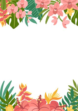 Tropical frame with palm leaves, hibiscus, strelitzia, orchid and plumeria flowers. Beautiful floral background for wedding invitations, greeting cards, home decor. Modern vector illustration. Illustration
