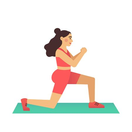 Cartoon female is training, doing lunge exercise. Woman in sports clothes on a rug. Modern flat vector illustration isolated on a white background. Illustration