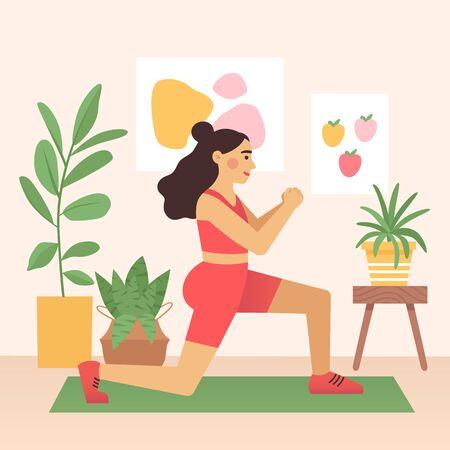 Cartoon female is training, doing lunge exercise, at home. Woman in sports clothes on a mat. Vector illustration in flat cartoon style. Illustration