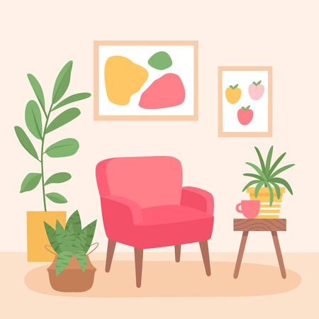 Modern and stylish interior design of the living room. Red armchair, coffee table and home plants. Modern flat vector illustration. Illustration