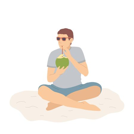 Happy man in shorts on sand beach, drinks a coconut cocktail and relaxes. Vector illustration in flat cartoon style. Illustration