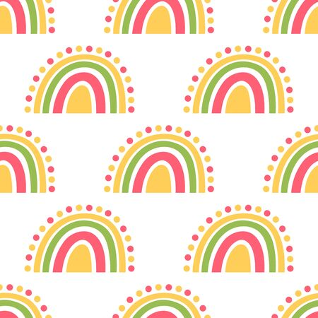 Seamless pattern with colorful rainbow, on a white background, in Scandinavian style. It can be used for packaging, wrapping paper, textile, home decor etc.