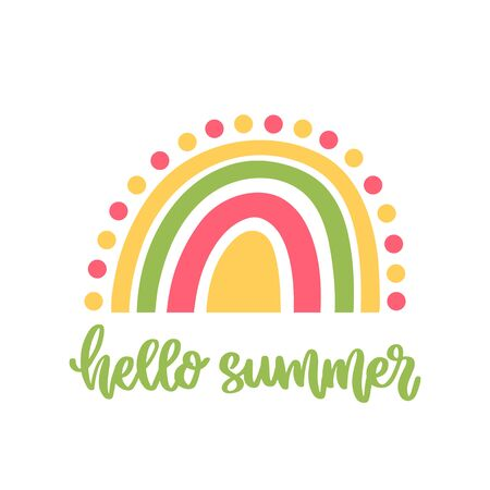 Scandinavian card with colorful rainbow and handwritten text: Hello summer. Beautiful print for home decor, card, mug, brochures, poster, t-shirts etc. Modern vector illustration.