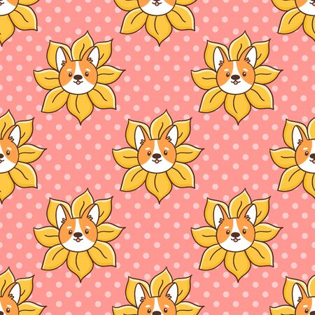 Cute seamless pattern with corgi dog peeks out of a sunflower, on a pink background. It can be used for packaging, wrapping paper, textile, home decor etc.