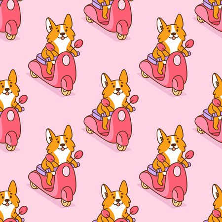 Seamless pattern with cute corgi dog rides on a pink motobike. It can be used for packaging, wrapping paper, textile, home decor etc.