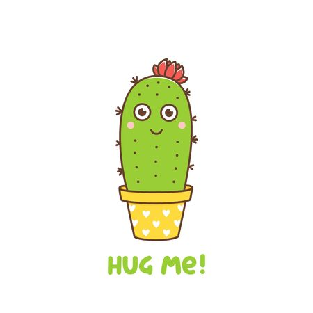 Cute cactus character with a flower in a pot with hearts. Text: Hug me. Vector illustration in  cartoon kawaii style.