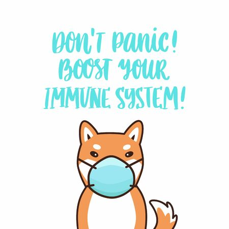 Shiba inu dog in medical mask and hand-drawing inscription: Don't panic! Boost your immune system! It can be used for card, brochures, poster etc.