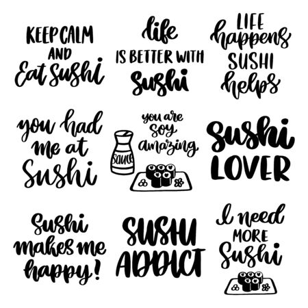 The hand-drawing set of 9 inscriptions about Sushi. Vector image isolated on white background. It can be used for cards, brochures, poster, menu etc.
