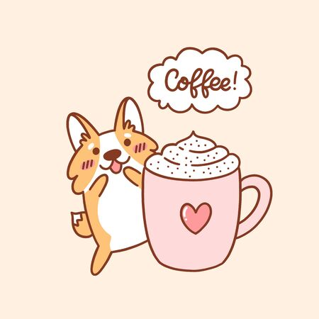 Cute kawaii corgi dog and mug of coffee drink with foam. Inscription in the cloud: Coffee! It can be used for menu, brochures, poster, sticker etc. Vector image.