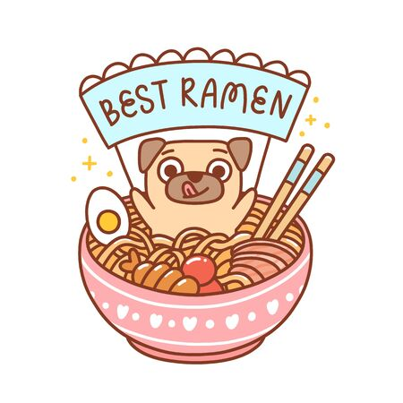 Cute pug dog in a bowl of ramen with noodles, egg, fish and shrimp. Inscription on the ribbon: Best ramen! It can be used for menu, brochures, poster, sticker etc. Vector image isolated on white background. Ilustração