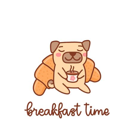 Cute pug dog enjoys coffee and fresh croissant. Breakfast time. It can be used for menu, brochures, poster, sticker etc. Vector image.