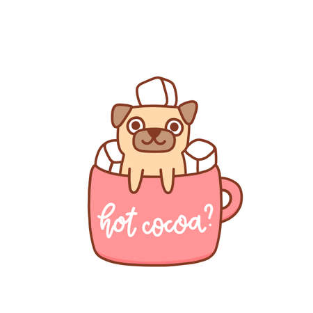 Funny kawaii pug dog in a mug of cocoa with marshmallows. Inscription: Hot cocoa? It can be used for menu, brochures, poster, sticker etc. Vector image.