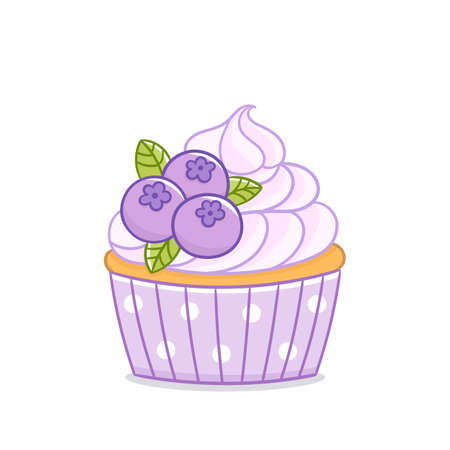 Blueberry cupcake muffin. Delicious dessert with whipped cream and berries on the top. Vector image isolated on white background.