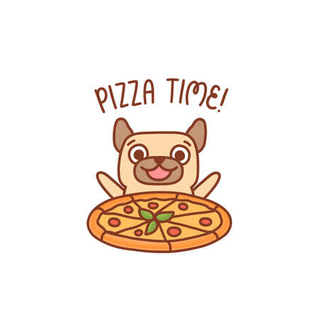 Happy smiling character pug dog with pizza margarita. Inscription: PIzza time! It can be used for menu, brochures, poster, sticker etc. Vector image.