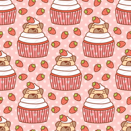 Cute seamless pattern with pug dog in a cupcake and strawberries, on a pink background. It can be used for packaging, wrapping paper, textile, home decor etc. Ilustração