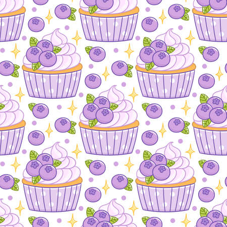 Cute seamless pattern with blueberry cupcake muffin, on a white background. It can be used for packaging, wrapping paper, textile, home decor, menu etc.