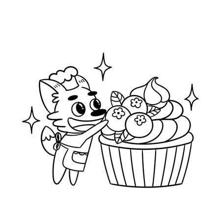 Cute fox confectioner decorates blueberry cupcake. Great illustration for the coloring book or page for adults and children. Black and white vector illustration.