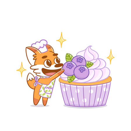 Red fox pastry chef decorates blueberry cupcake. Great illustration for menu, brochures, poster, sticker, card etc. Vector image.
