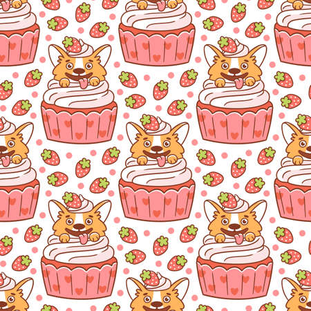 Cute seamless pattern with corgi dog in a cupcake, decorated with strawberries, on a white background. It can be used for packaging, wrapping paper, textile, home decor etc.