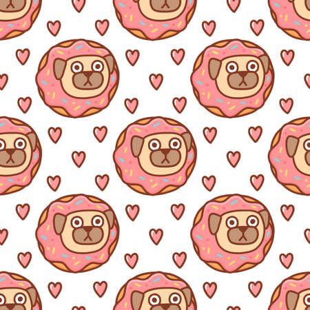 Funny seamless pattern with pug dog in the donut with pink icing, on a white background. It can be used for packaging, wrapping paper, textile, home decor etc. Ilustração